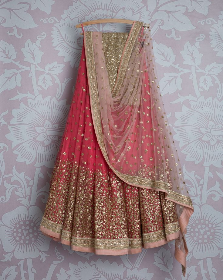 SMF LEH 297 17 | Dark bubblegum sequin lehenga with bubblegum sequin dupatta and gold sequin blouse