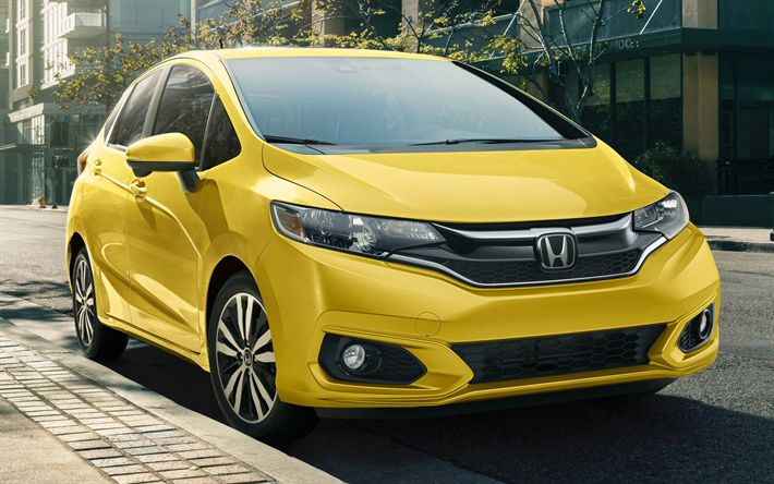 Download wallpapers Honda Fit, street, 2018 cars, yellow Fit, electric vehicle, Honda