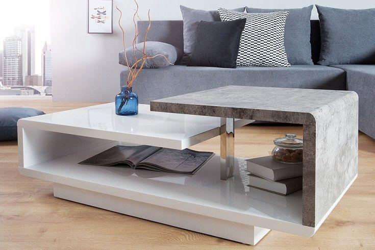 Stylischer Design Couchtisch Concept 100cm Hochglanz Weiss Beton