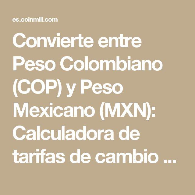 Convierte entre Peso Colombiano (COP) y Peso Mexicano (MXN): Calculadora de tarifas de cambio de divisas