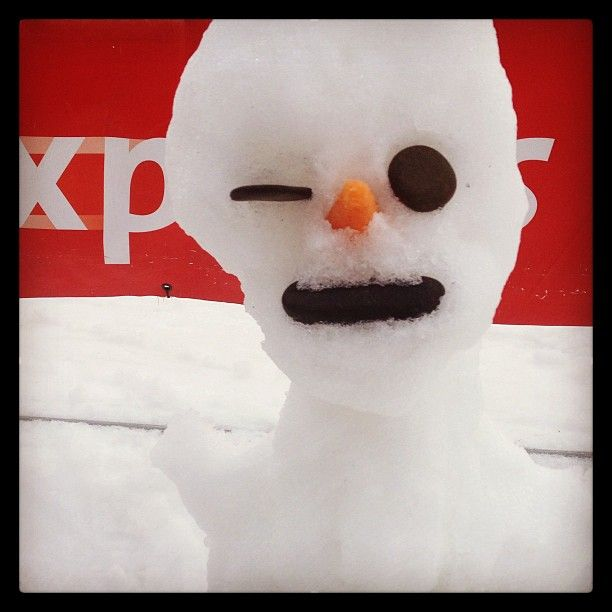 Cheeky snowman wink #mtbuller #snowblindblog #snow2013 #aussieskier #waitingforsnow