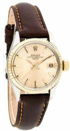 ROLEX Champagne Dial.and Brown Leather ♡♡ perfect for office by day, restaurant by night affairs ♡