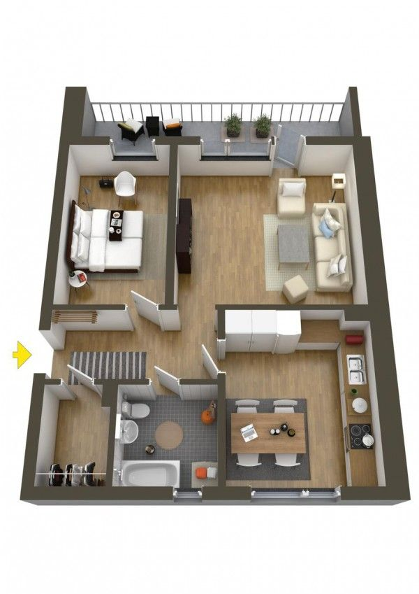 This big and busy apartment has an eat-in kitchen, huge living room, big bathroom and large bedroom. It's enough space to add another bedroom, even.