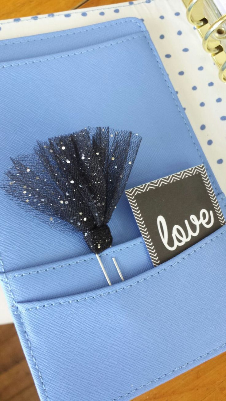 Black & Glitter Tulle Tutu Planner Clip⎜Paperclip Page Marker⎜Kikki K ⎜Erin Condren⎜Filofax ⎜Planner Accessories by PlanAndSparkle on Etsy