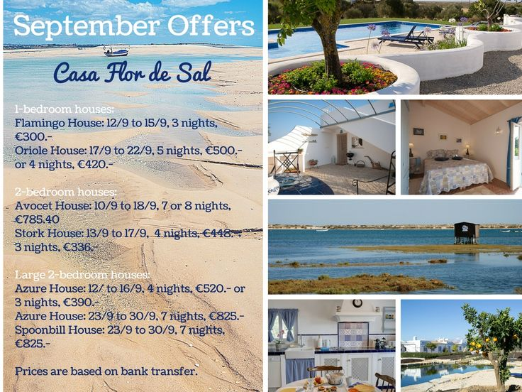 Casa Flor de Sal, Self-catering houses in Ria Formosa Natural Park, Algarve - 25% discount on last availability September 2016. Book now this subtropical paradise!!! Check details on https://casaflordesal.com/index.php/reservations/special-offers www.casaflordesal.com