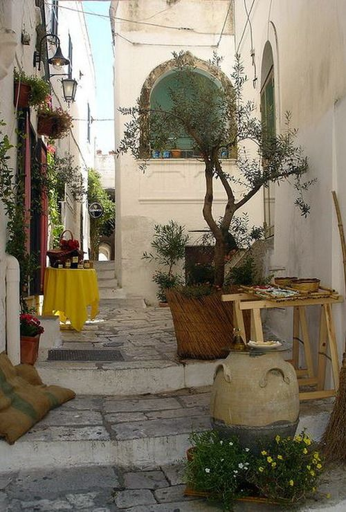 On the white streets of Ostuni in Puglia, Italy