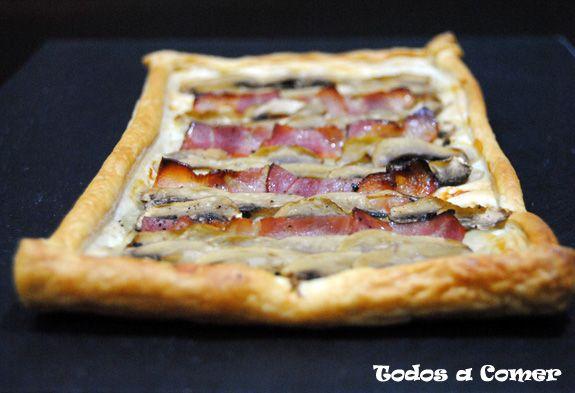 hojaldre de champiñones y bacon