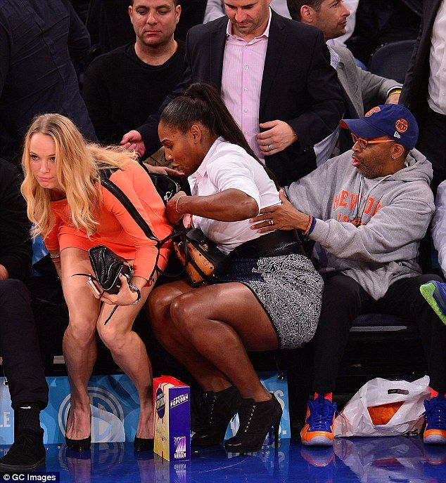 Serena gets some help from Spike Lee while Caro looks a bit annoyed.