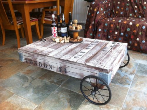 Vintage Upcycled Industrial Trolley Cart Pallet Coffee Table Pallets Industrial And Vintage
