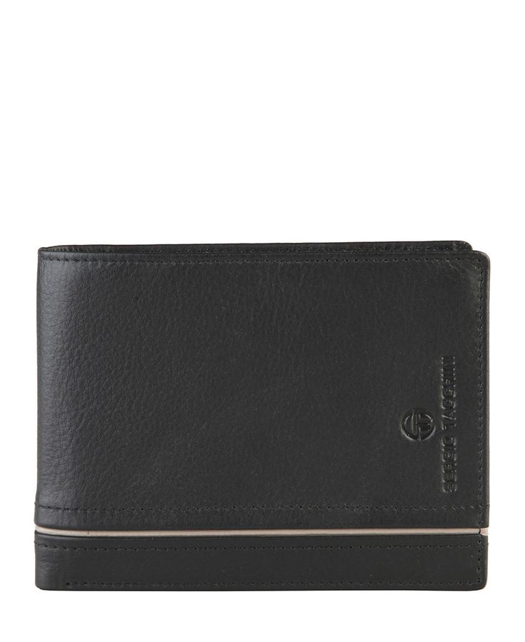 Sergio tacchini - portafoglio uomo - 100% pelle con logo - portamonete, due scomparti per banconote, porta carte di cred - Portafoglio uomo Nero