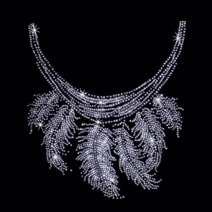 9x10  - SILVER FEATHER NECKLINE - feather neckline, neckline, Rhinestone, Rhinestud, silver feather, stones, studs, Material Transfer, Necklines