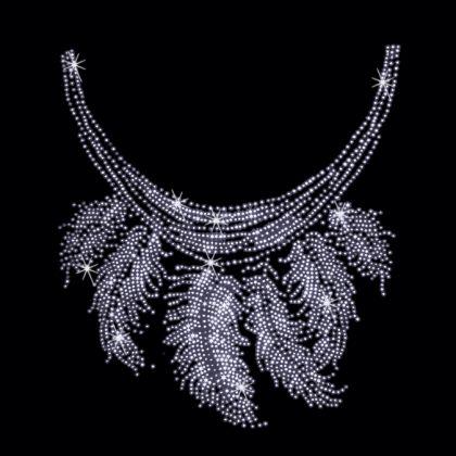 9x10  - SILVER FEATHER NECKLINE - feather neckline, neckline, Rhinestone, Rhinestud, silver feather, stones, studs, Material Transfer, Necklines