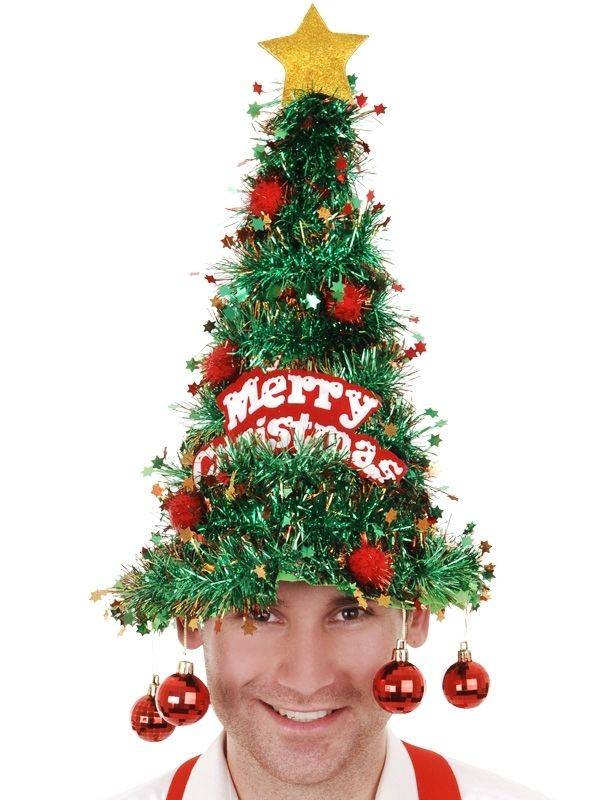 Christmas Tree Hat | Christmas Tree Tinsel Hat with baubles - Costume Direct