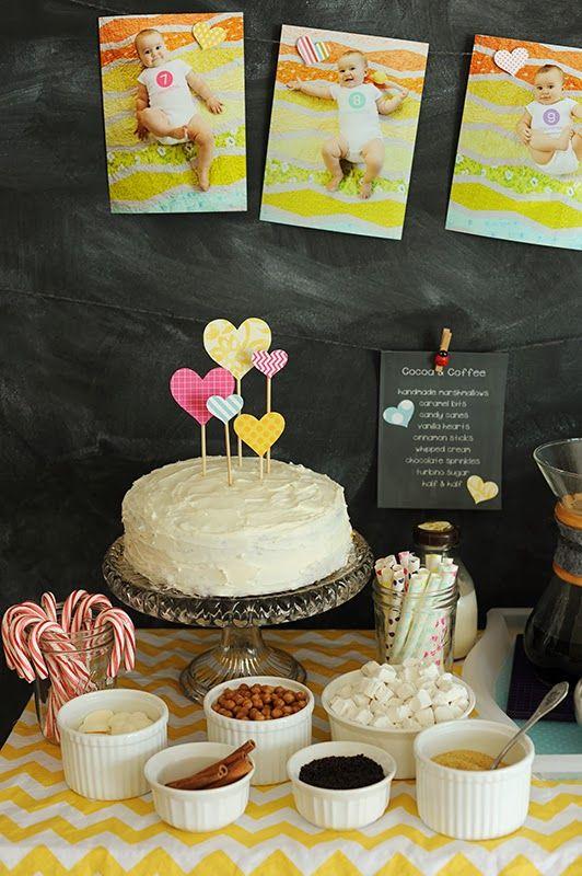 Rust & Sunshine: 1st Birthday Party #hearts #cocoabar