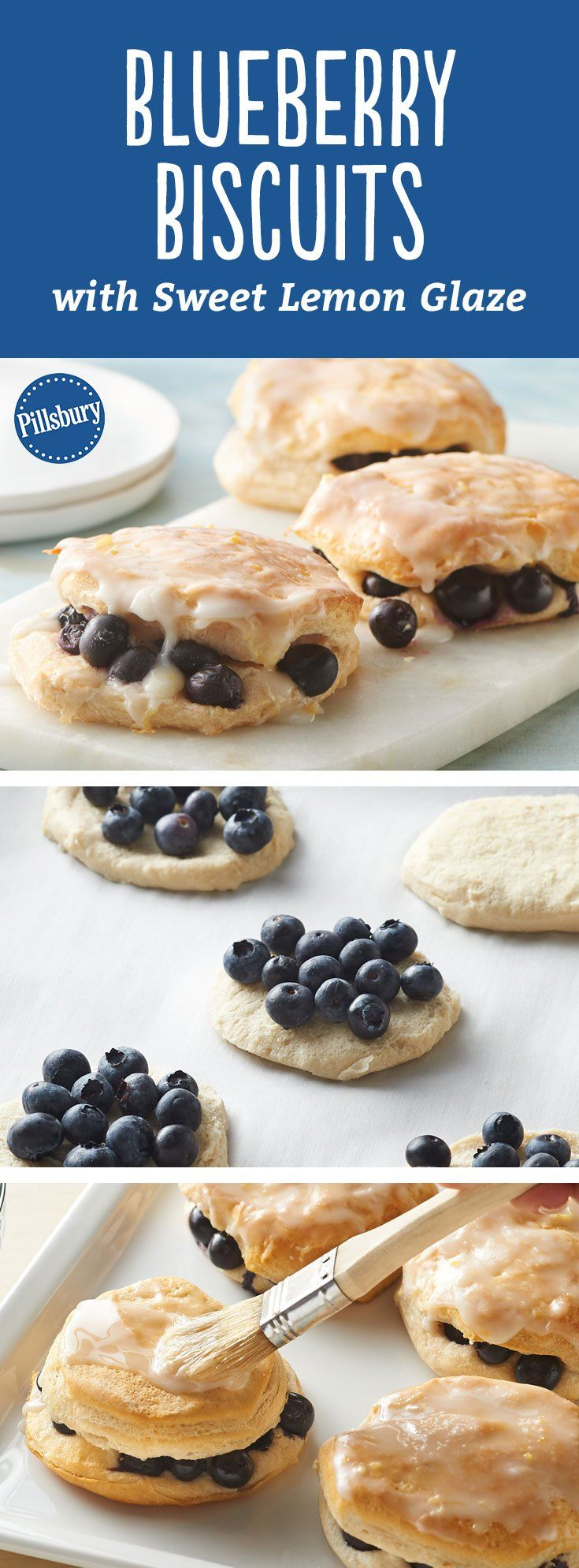 These blueberry-stuffed biscuits are easy, delicious and a beautiful addition to the brunch table with their homemade lemon glaze. Expert tip: For the prettiest presentation, arrange plenty of blueberries along outer edges of biscuits so they burst and drip down edges of biscuits while baking.