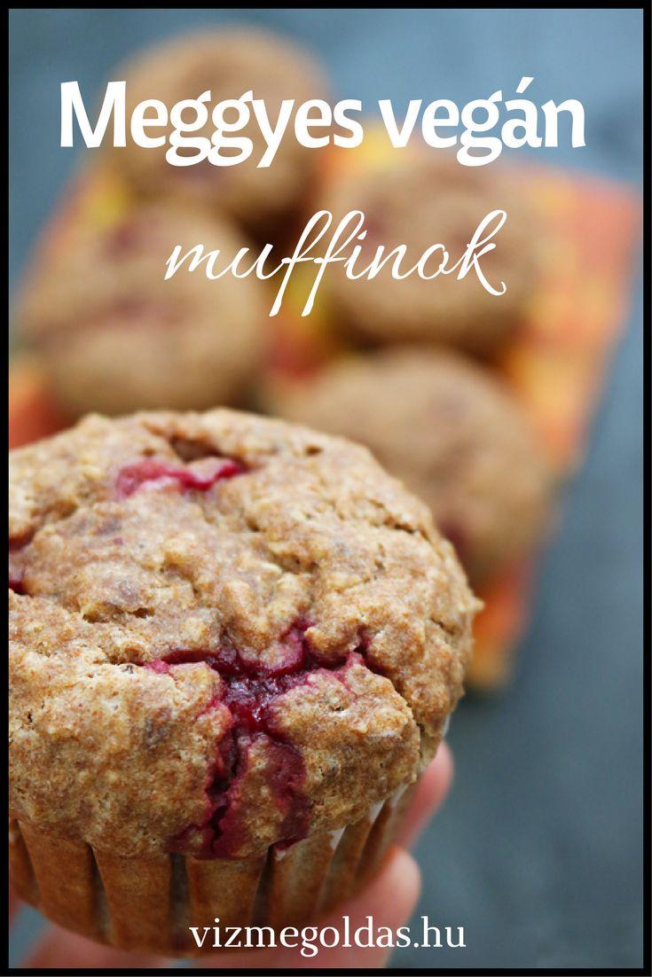 Egészséges receptek - Meggyes vegán muffin