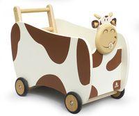 Chariot de marche en bois à roulette pour bébé, coffre rangement