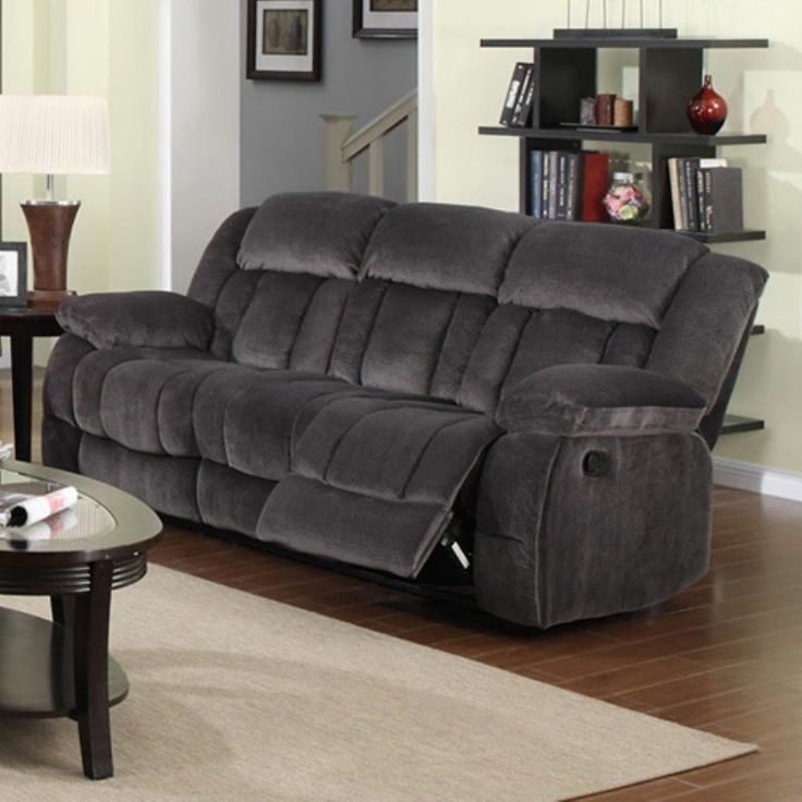 sunset trading madison reclining sofa charcoal blue gray suln550305 microfiber