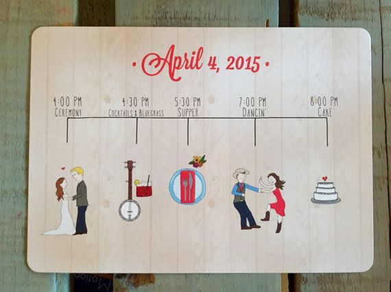 Custom Wedding Program Illustration Digital File by AllirooDesigns