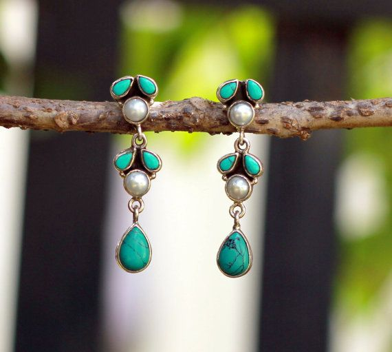 Pearl and turquoise sterling silver post earring