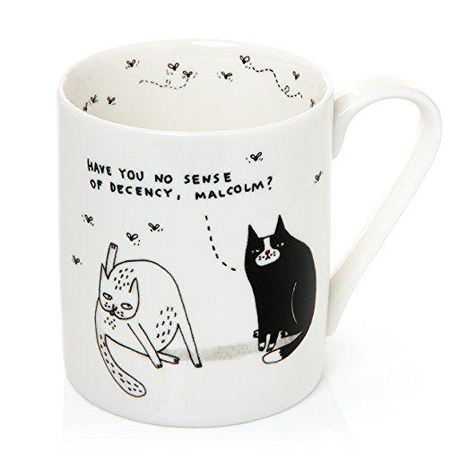 Pickle Parade 1-Piece 12 fl oz 340 ml Mug with a Cat Pattern, White: Amazon.co.uk: Kitchen & Home