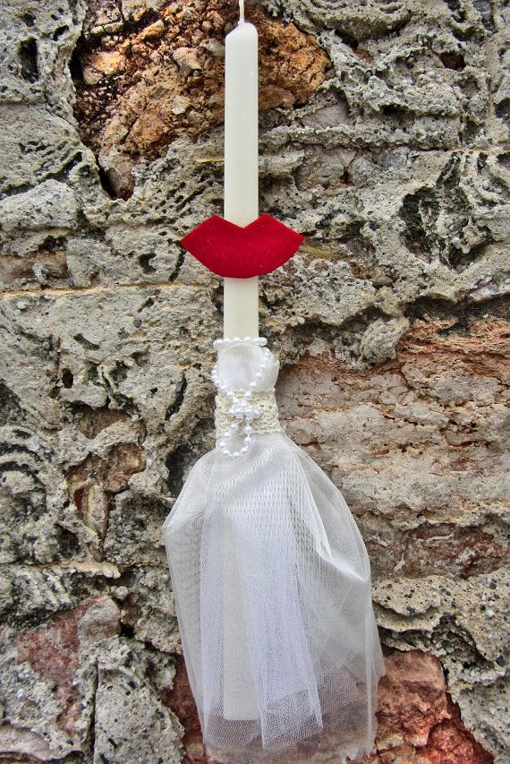 Greek Easter candle lampada with tulle and lips by amZinspirations