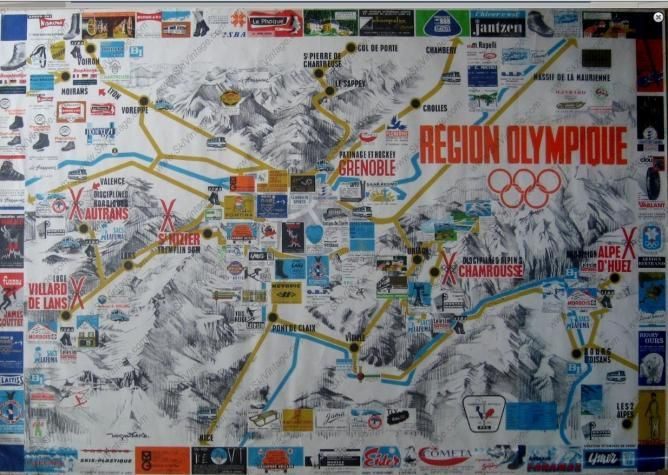 CHAMROUSSE - Carte de l'espace olympique : Jeux Olympiques de Grenoble 1968
