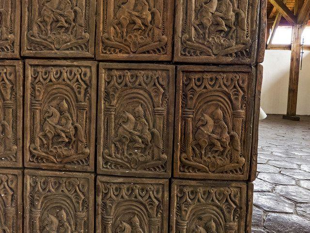 Tile stove replica in Lazarea, Transylvania