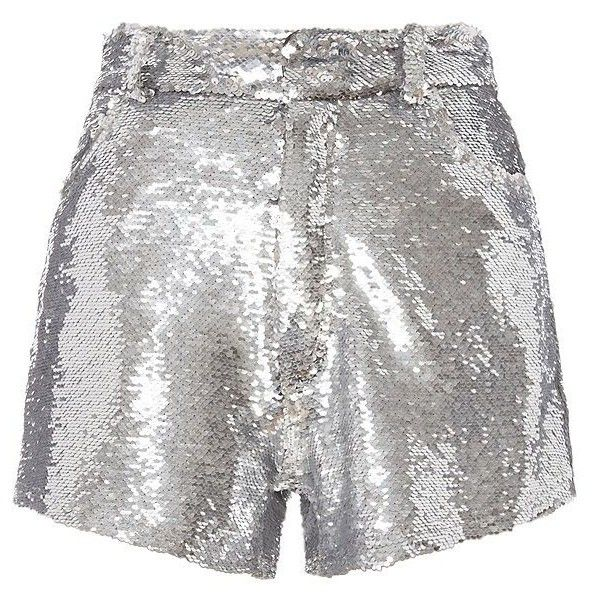 IRO Women's Silver Sequin Skirt ($485) ❤ liked on Polyvore featuring skirts, shorts, party skirts, white skirt, silver skirt, sequin skirt and zipper skirt