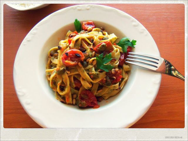 Speckled Pasta with Tomato and Anchovies Sauce