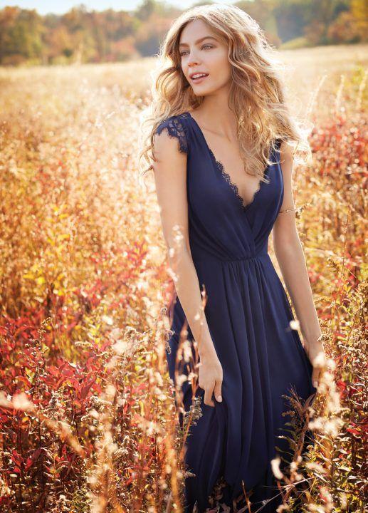 B5039 trois Styles femmes Long formelle parti robes 2016 élégant col en V dentelle Appliques marine bleu en mousseline de soie robes de mariée pas cher dans Robes de demoiselles d'honneur de Mariages et événements sur AliExpress.com | Alibaba Group