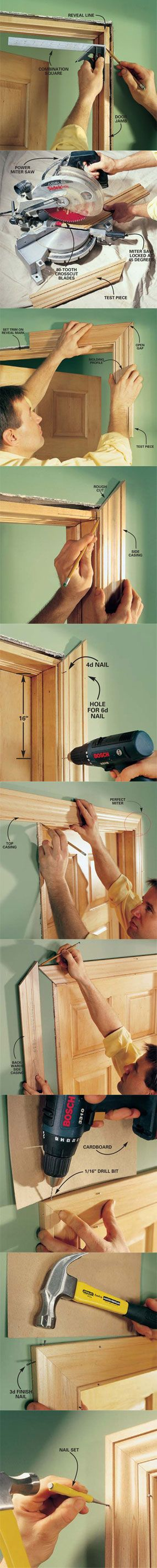 We show you how to make crisp, sharp corners and tight joints when installing door trim. With a few basic carpentry tools and a little patience, you can trim out a door quickly. With a little practice you can master the two key trim techniques, mitering and coping. Learn how to trim out a door at http://www.familyhandyman.com/DIY-Projects/Trim/Trim-Carpentry/interior-trim-work-basics/View-All