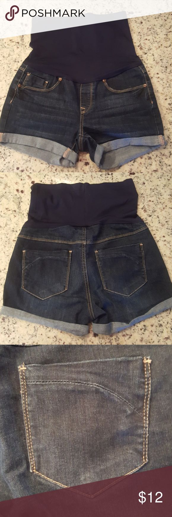 Bella Vida Maternity Denim Shorts - Size S These maternity shorts are in great condition.  Belly: 88% nylon/12% spandex Body: 56% cotton/21% polyester/21% rayon/2% spandex Bella Vida Shorts Jean Shorts