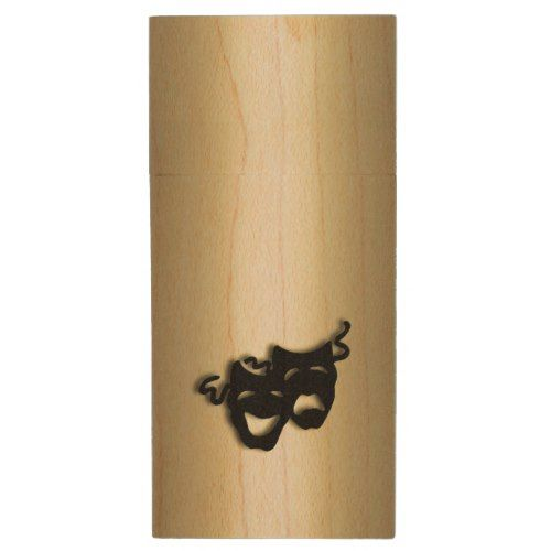 Comedy and Tragedy Theater Gold Wood Flash Drive