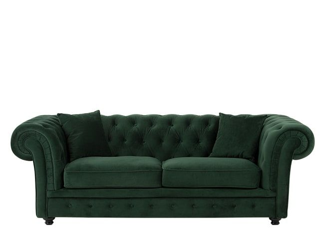 Branagh Canape Chesterfield 2 Places Velours Vert Sapin Sofa Bed Green Sofa Chesterfield Sofa Bed