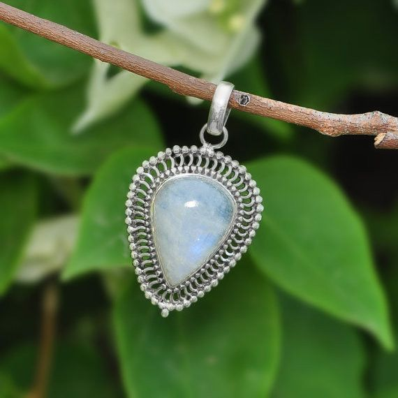 Moonstone Jewellery – Rainbow Moonstone Pendant, 925 Silver Jewelry – a unique product by Midas-Jewelry on DaWanda