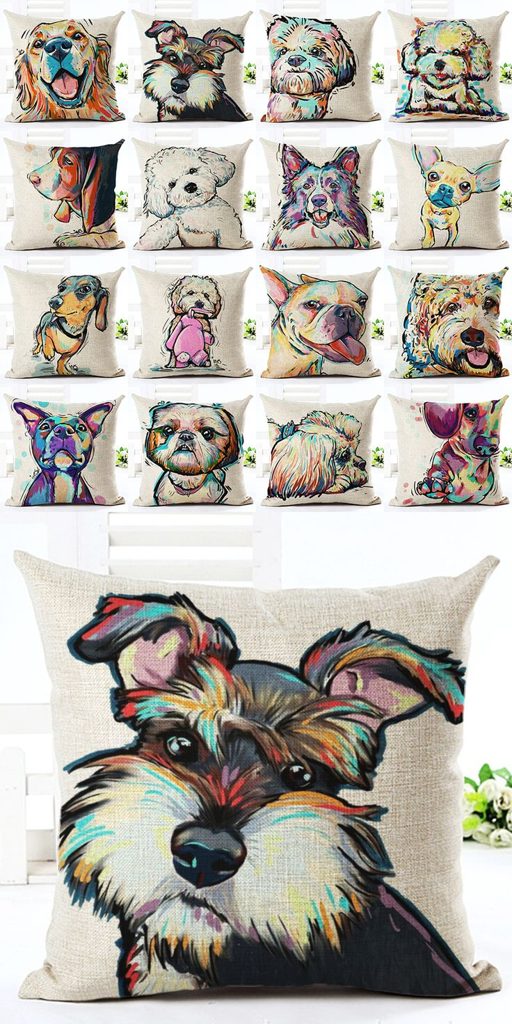 Decorative pillow made of cotton for a sofa with the image of cartoon dogs. This is an amazing gift to a holiday, which decorate the house. Pillow is comfortable and with a beautiful image of dogs. Size 45 x 45 cm. Price $7.99 #Decor #Designer