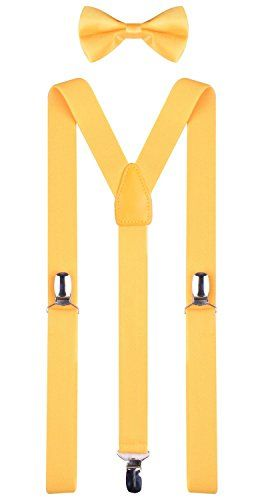 Yellow Bow Tie and Suspenders Set for Child Toddler Size 22 Inches (6 Months - 3 Years) Yellow