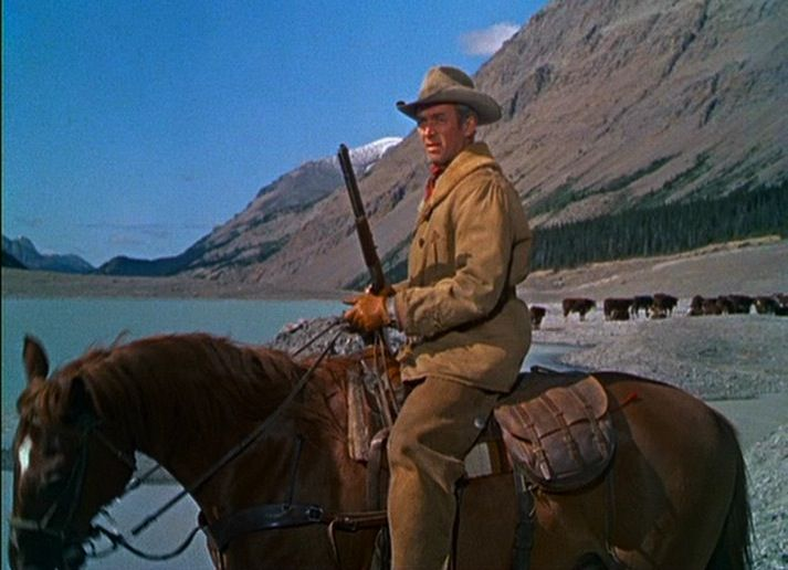 "Jimmy and his horse, Pie, from a scene in The Far Country, 1954.  ""The horse was amazing.  I rode him for 22 years...I saw him when I started making Westerns.  Audie Murphy rode him a couple of times.  He nearly killed Glen Ford, ran right into a tree...but I liked this darned little horse."" (BFI Interview, 1972)"