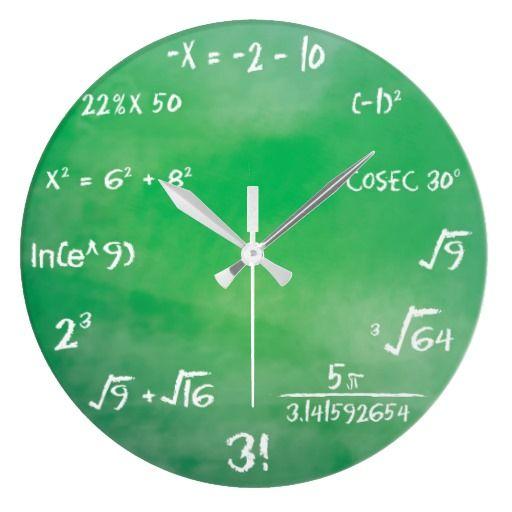 Mathematics Equation Quiz For Geeks Large Clock Zazzle