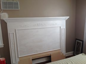 diy fireplace mantle headboard, bedroom ideas, fireplaces mantels, painted furniture, repurposing upcycling, I painted the whole thing white yes even that bottom piece not painted here