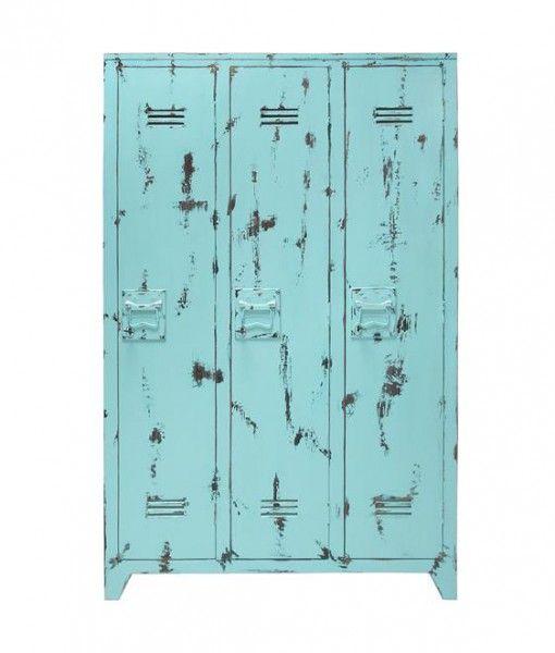 Wooden Locker Turquoise Rustic