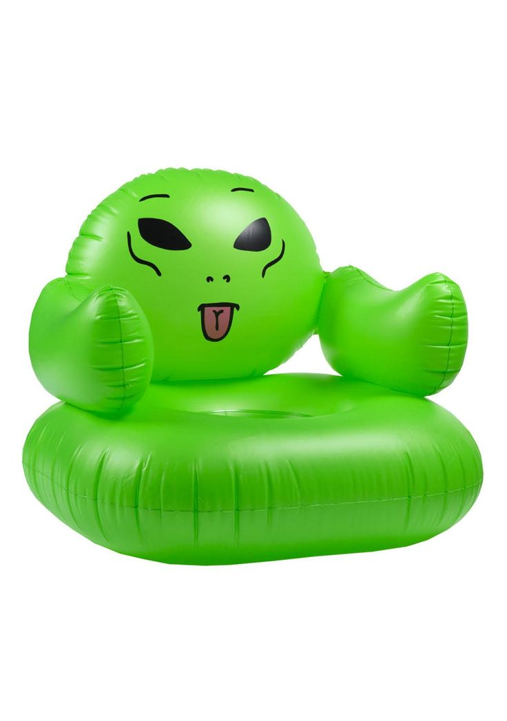 RIPNDIP We Out Here Inflatable Chair when you're extra terrestrial af. This sikk pool floatie can be used on land or water and has an alien face on it.