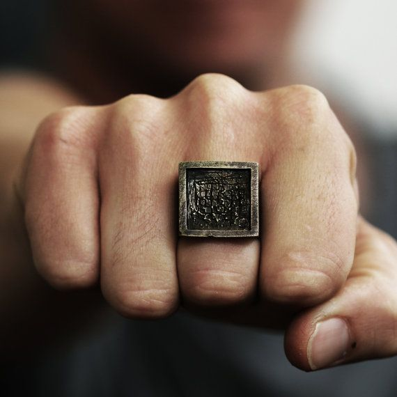 Mens Ring Oxidized Antique Brass Square Ring by carpediemjewellery