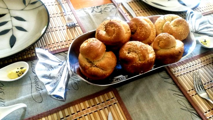 My first attempt at bread rolls...  Rosemary & Sea Salt Semolina rolls with Sesame seeds
