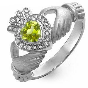 My birthday gift!! Kay - Peridot Heart Claddagh Ring Sterling Silver.