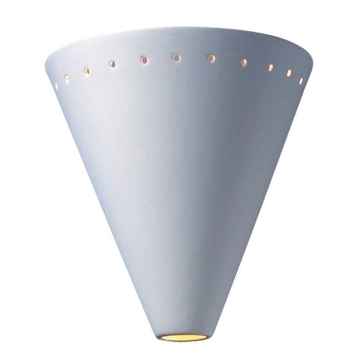 Leonidas 1-Light Paintable Ceramic Bisque Cut Cone Sconce with Perfs