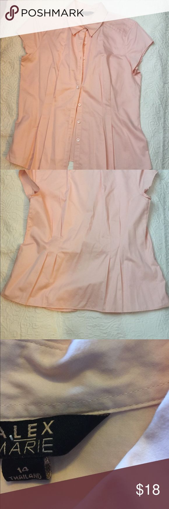 Alex Marie button up fitted blush pink shirt All cotton, semi fitted with darts at waistline. Other items in pics not for sale Alex Marie Tops Blouses