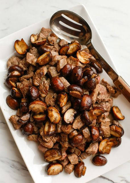 Buttered Steak Bites with Mushroom {Barefeet in the Kitchen}