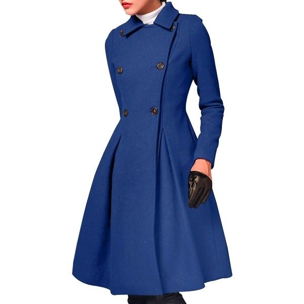Women's Winter Wool Blend Double Breasted Swing Coat ($49) ❤ liked on Polyvore featuring outerwear, coats, jackets, deep blue, wool-blend coat, blue swing coat, double breasted coat, longline coat and swing coat